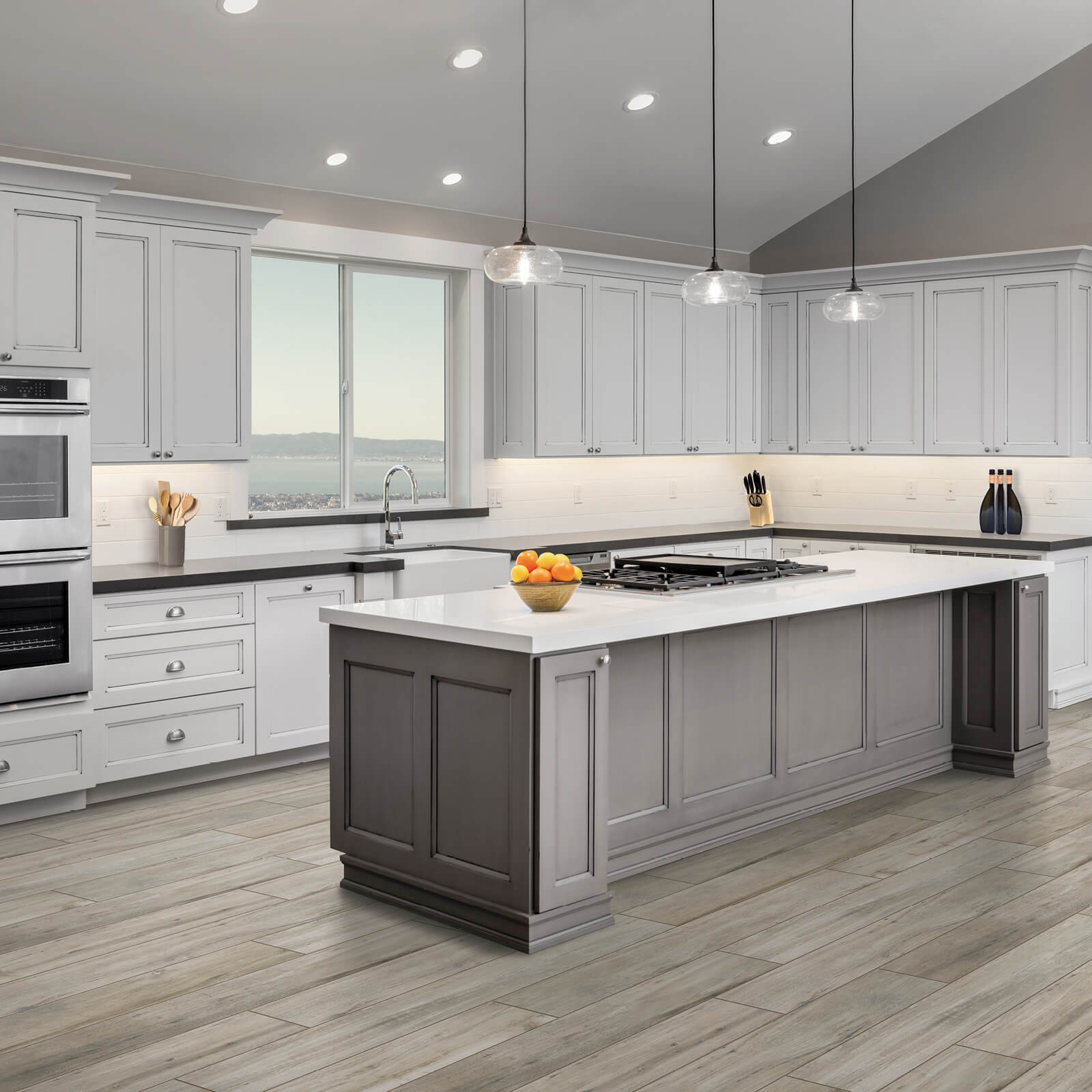 Modern kitchen with updated countertops and flooring | Design Waterville
